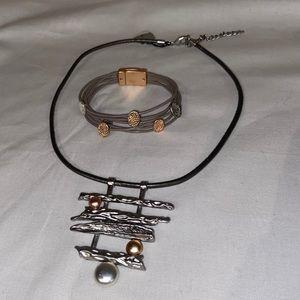 SAACHI Grey Leather Cord Necklace Bracelet Set